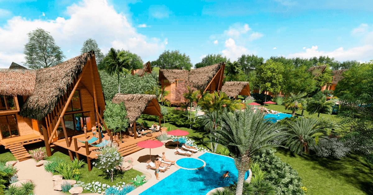 Perspectiva área de modelos de casas conceptual al interior del condominio Yanashpa Village en Tarapoto