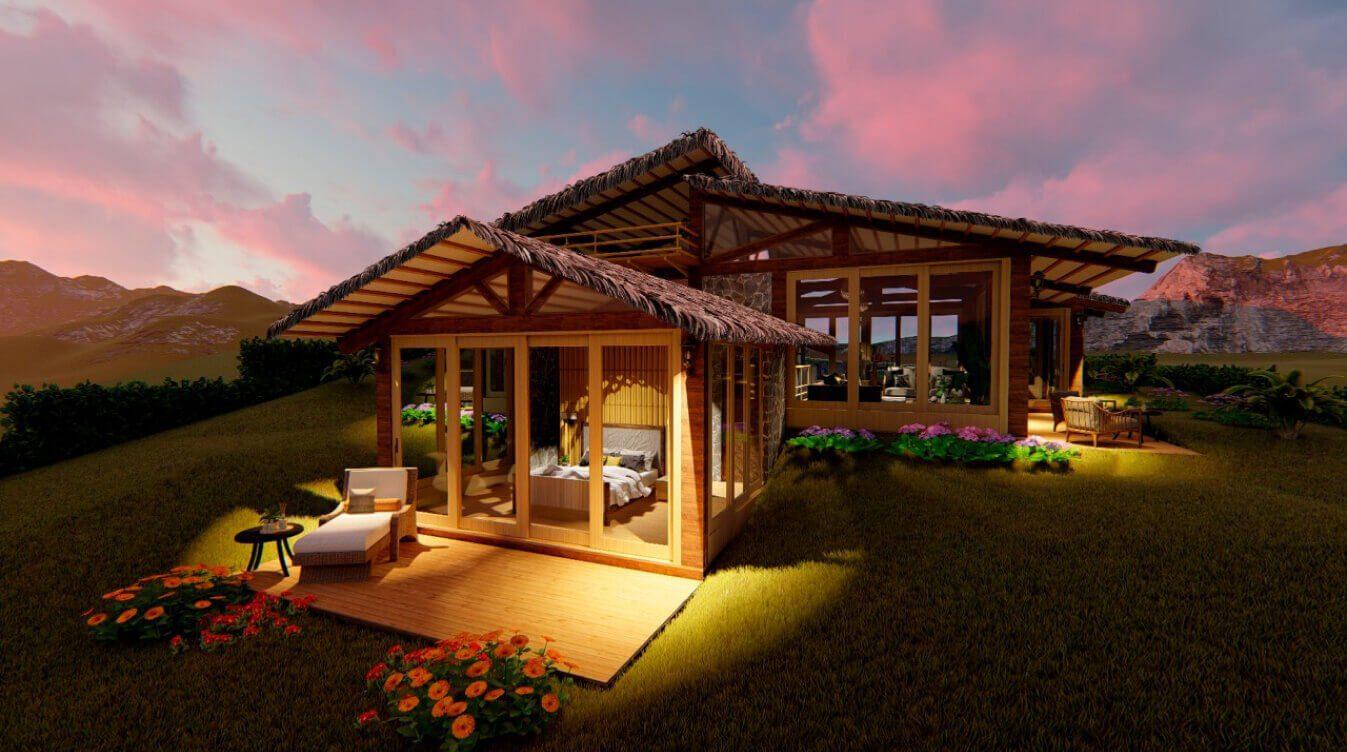 Anochece en un modelo de casa infinita en Yanashpa Village, Tarapoto