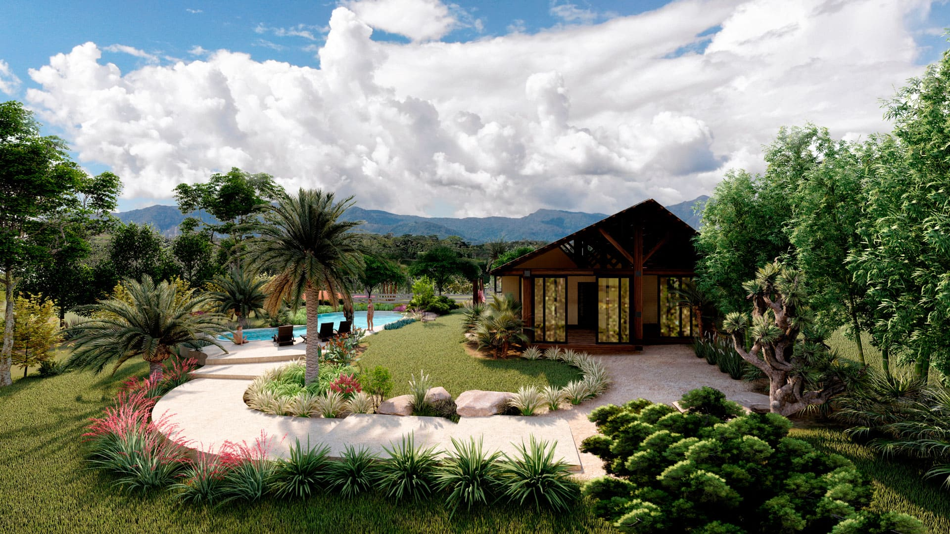 Casa modular con cielo azul en Yanashpa Village, Tarapoto