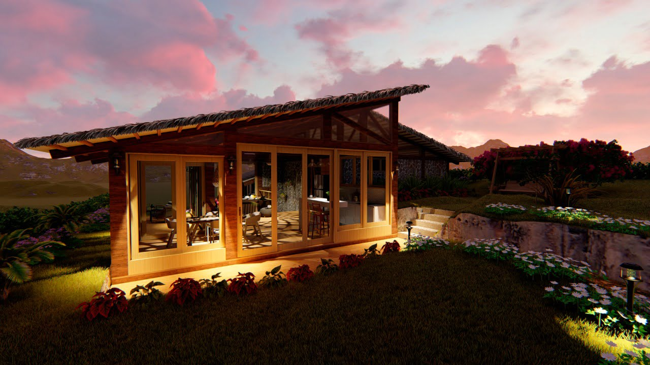 Anochece en casa vista infinita en Yanashpa Village, Tarapoto