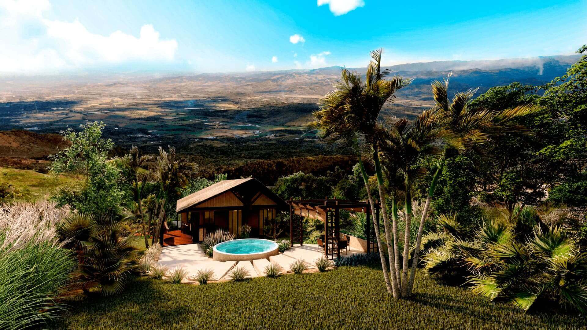 Vista aérea de casa modular con piscina en Yanashpa Village, Tarapoto